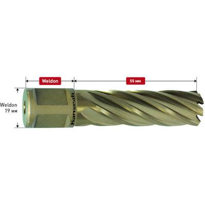 Фреза корончатая Gold-Line h=55 с хвостовиком Weldon-19, 22,0 мм