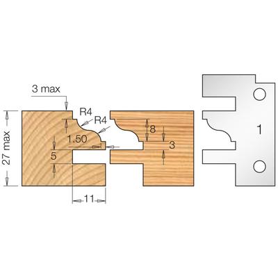 Фреза насадная мебельный ФАСАД профиль 1