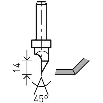 Фреза по гипсокартону HW S8 D12,5/45°