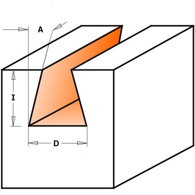 Фреза ласточкин хвост 14гр. S8 D12,7 I12,7 L52