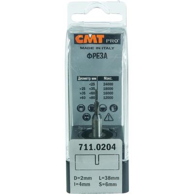 Фреза CMT-PRO пазовая прямая монолитная S6 D2 I4 L38