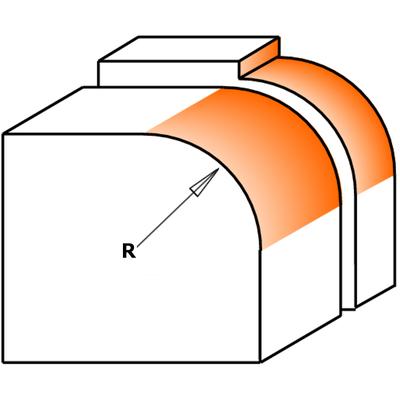 Фреза радиусная PRO c подшипником HW S=8 D=19.1X12.7X54 R3,2 RH