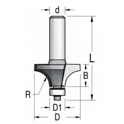 Фреза радиусная с нижним подшипником R4 мм