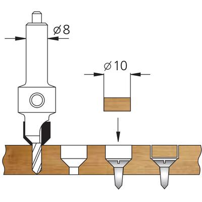 Комплект 4 сверла с зенковками и пробочник