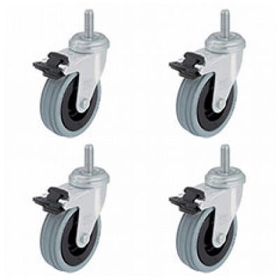 Комплект поворотных роликов с тормозом (4 шт/компл.)