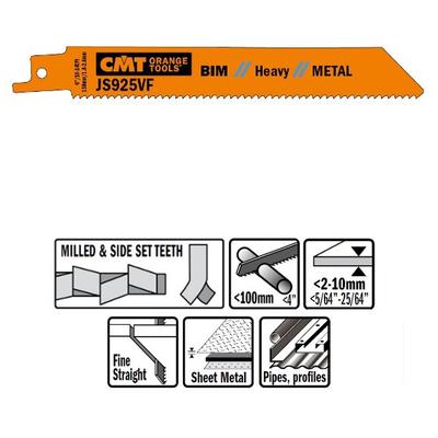 Пилки сабельные 25 штук для металла  (BIM) 150x1,8-2,6x10-14TPI