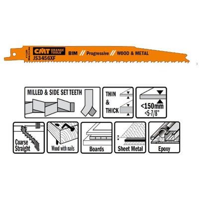 Пилки сабельные 5 штук  для  дерева и металла(BIM) 200x2,1-4,3x6-12TPI