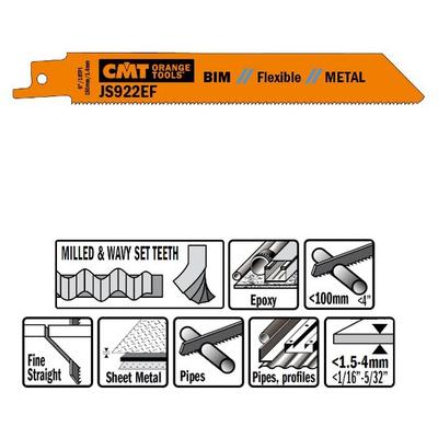 Пилки сабельные 5 штук  для  металла (BIM) 150x1,4x18TPI