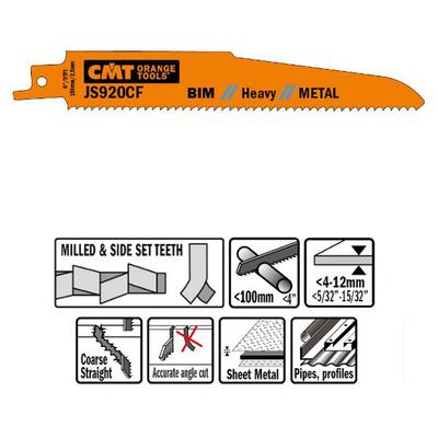 Пилки сабельные 5 штук  для  металла (BIM) 150x2,9x9TPI