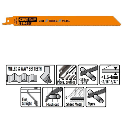 Пилки сабельные 5 штук  для  металла (BIM) 225x1,4x18TPI