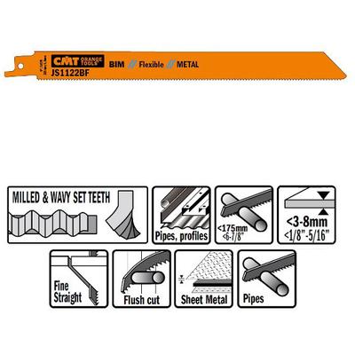 Пилки сабельные 5 штук  для  металла (BIM) 225x1,8x14TPI