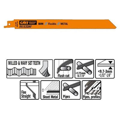 Пилки сабельные 5 штук  для  металла (BIM) 225x1x24TPI