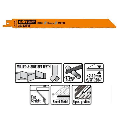Пилки сабельные 5 штук  для  металла (BIM) 225x2,5x10TPI