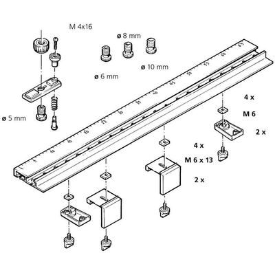 Рейка-шаблон для выполнения соединений на шкантах