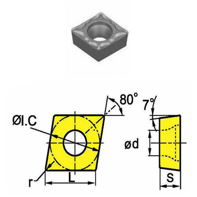 Сменная твердосплавная пластина CCMT09T308-HM/SD4125