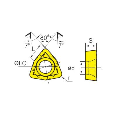 Сменная твердосплавная пластина WCMX040208R-53/YBG202
