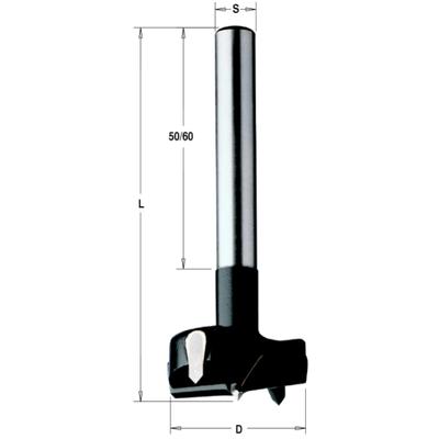 Сверло чашечное твердосплавное 35 мм HW 35x90 Z=2+2 S=10x60 RH