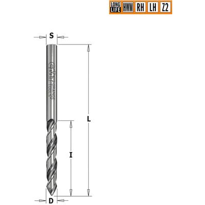 Сверло HWM для присадочного станка 2,5x27x55 Z=2 S=2,5 RH