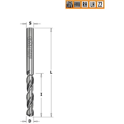 Сверло HWM для присадочного станка 2x25x50 Z=2 S=2 RH