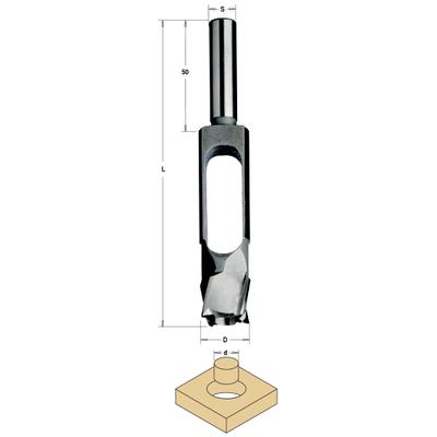 Сверло-пробочник 15 мм SP 15/27x140 Z=4 S=13 RH