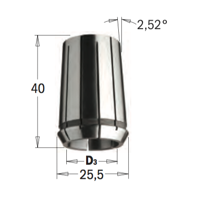 Цанга высокоточная DIN-6388  MM25,4X40  D=10