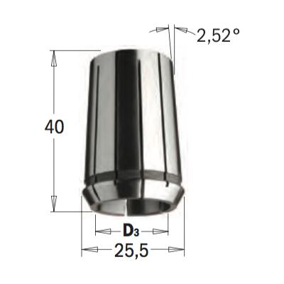 Цанга высокоточная DIN-6388  MM25,5X40  D=6