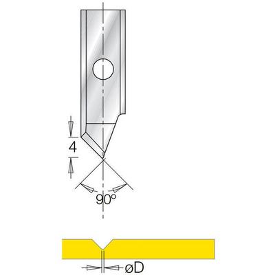 V-образная сменная пластина 90° B4 ØD=1 мм для фрезы G1853
