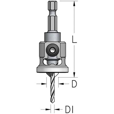 """Зенковка коническая D=9,5 мм, сверло 3 мм, хвостовик HEX 1/4"""""""
